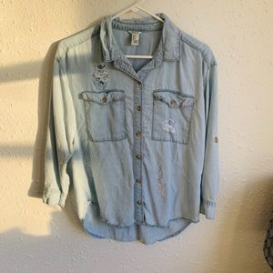 Forever21 Denim Distressed Button Shirt